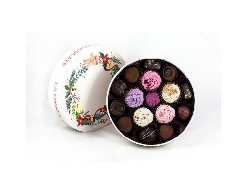 Srednja La Chocolate božična bonboniera za 12 pralinejev